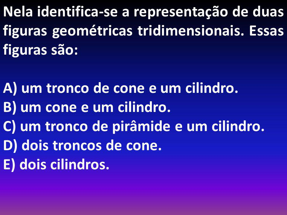 Nela identifica-se a representação de duas figuras geométricas tridimensionais. Essas figuras são:
