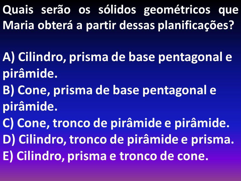 A) Cilindro, prisma de base pentagonal e pirâmide.