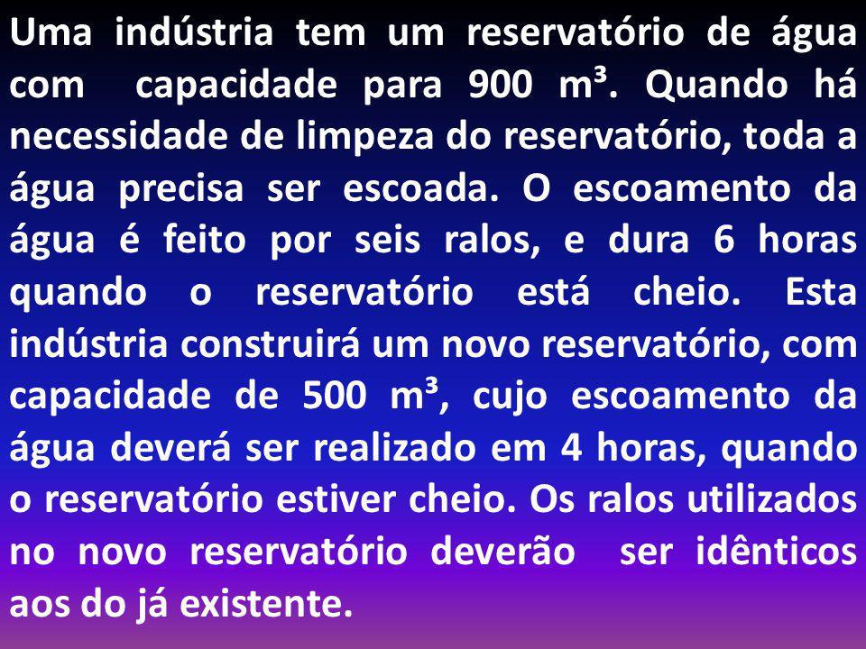 Uma indústria tem um reservatório de água com capacidade para 900 m³