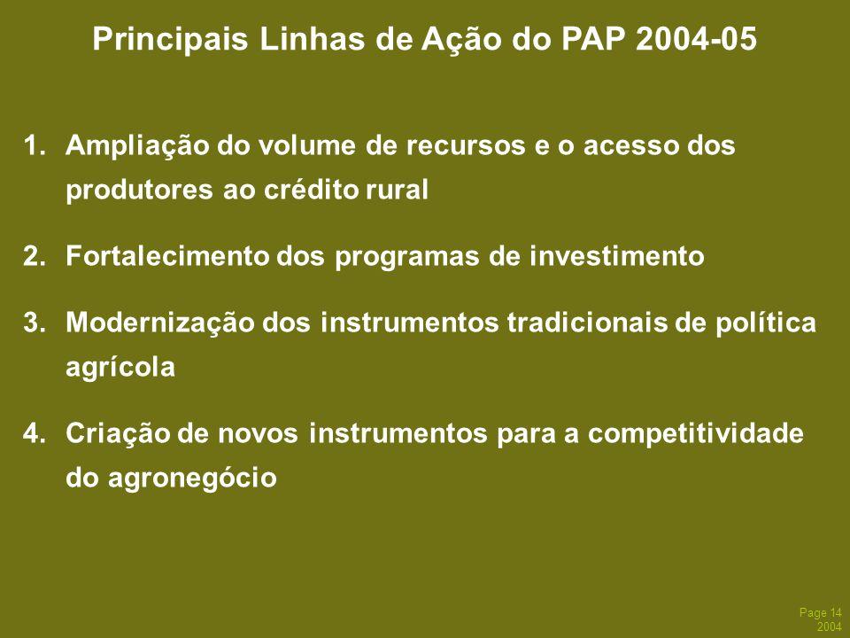 Principais Linhas de Ação do PAP 2004-05