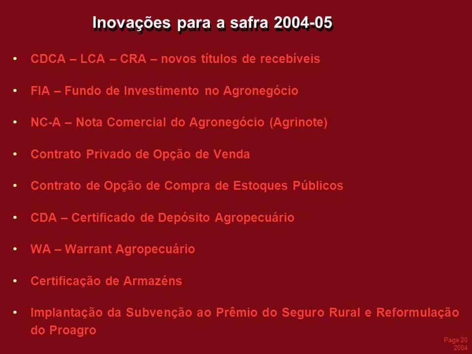 Inovações para a safra 2004-05