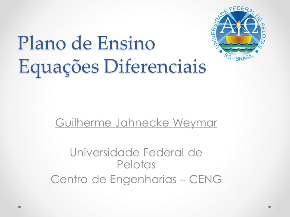 Plano de Ensino Equações Diferenciais