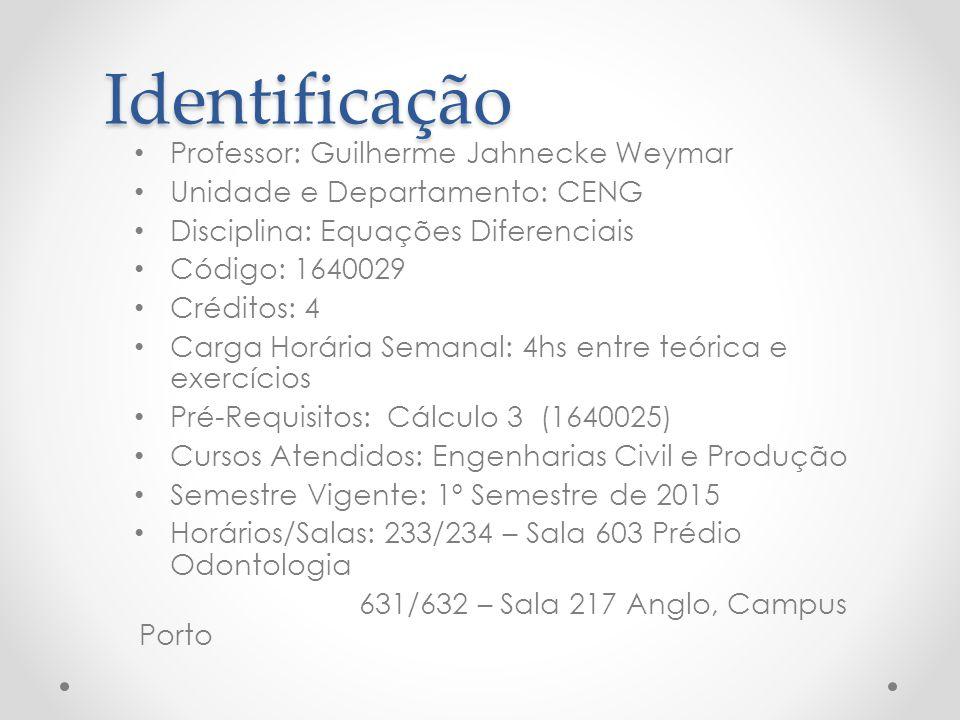 Identificação Professor: Guilherme Jahnecke Weymar