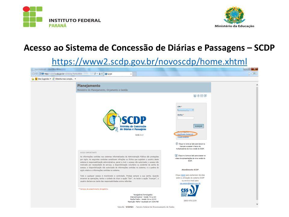 Acesso ao Sistema de Concessão de Diárias e Passagens – SCDP