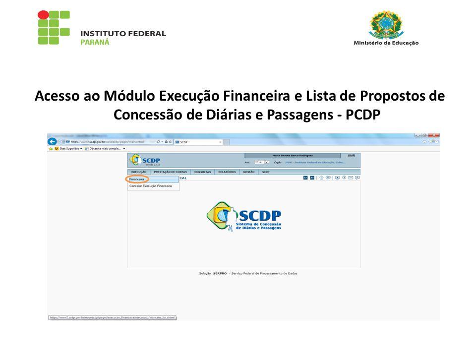 Acesso ao Módulo Execução Financeira e Lista de Propostos de Concessão de Diárias e Passagens - PCDP