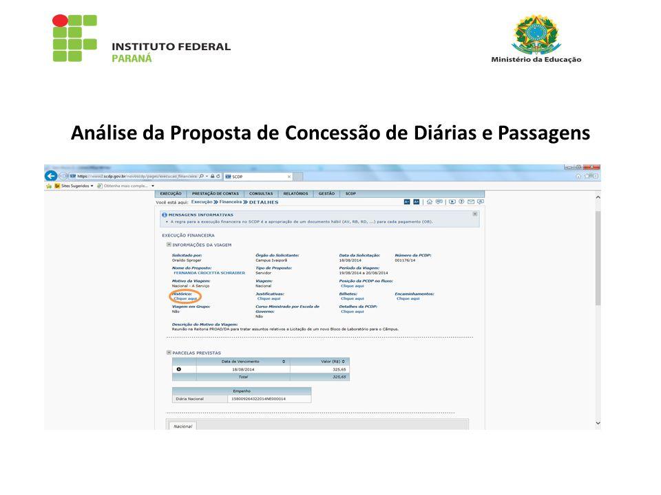 Análise da Proposta de Concessão de Diárias e Passagens