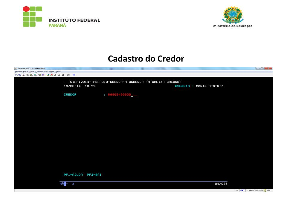 Cadastro do Credor