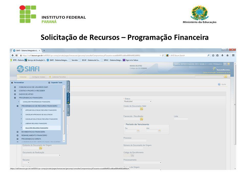 Solicitação de Recursos – Programação Financeira