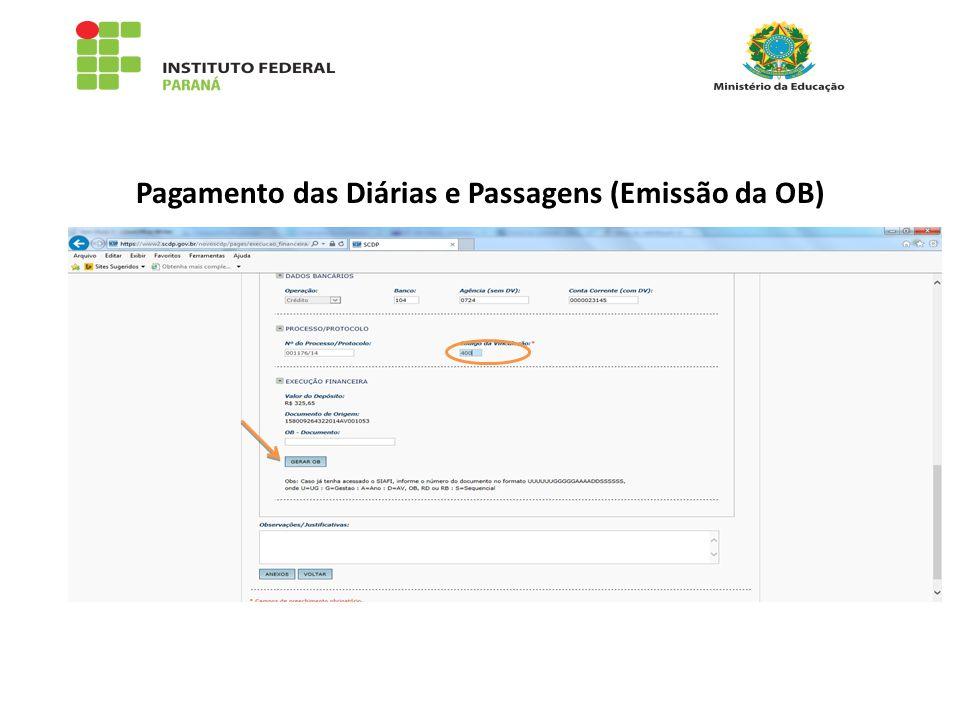 Pagamento das Diárias e Passagens (Emissão da OB)