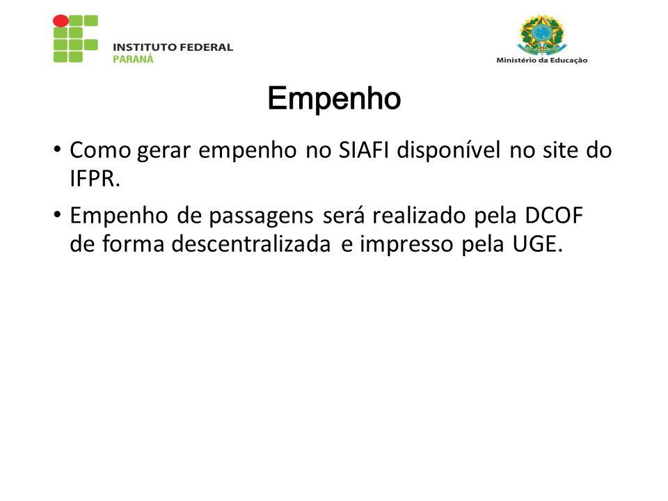 Empenho Como gerar empenho no SIAFI disponível no site do IFPR.