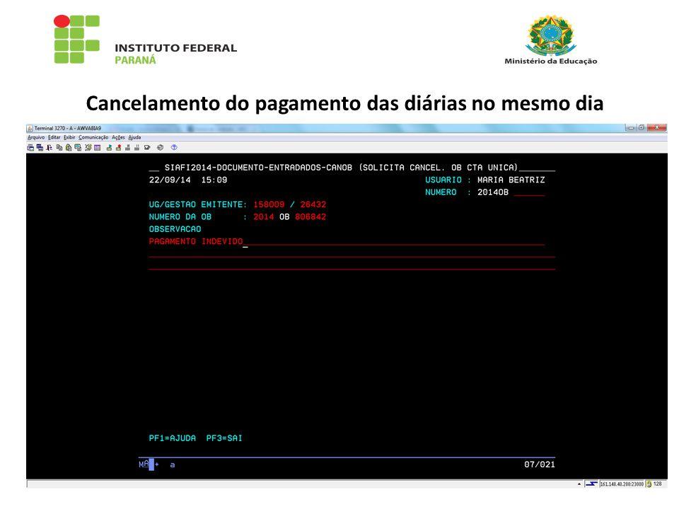 Cancelamento do pagamento das diárias no mesmo dia