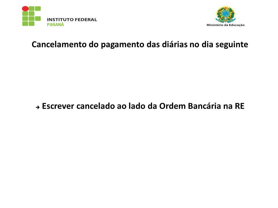 Cancelamento do pagamento das diárias no dia seguinte