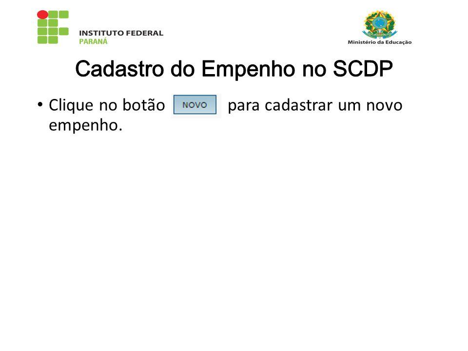 Cadastro do Empenho no SCDP