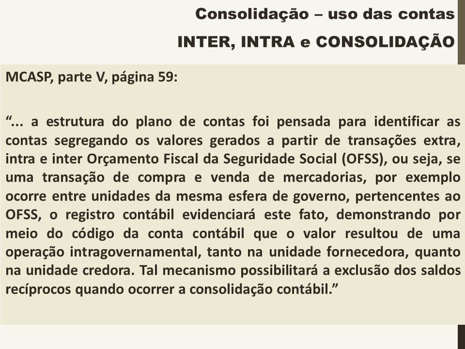 Consolidação – uso das contas