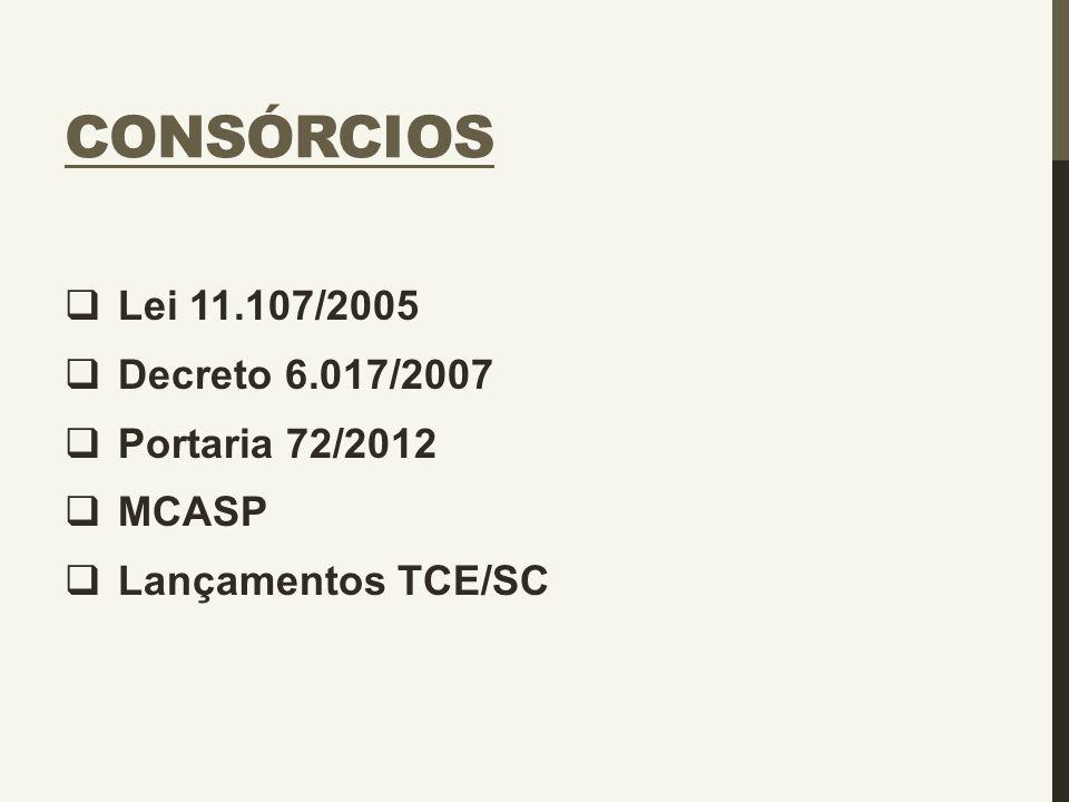 Consórcios Lei 11.107/2005 Decreto 6.017/2007 Portaria 72/2012 MCASP