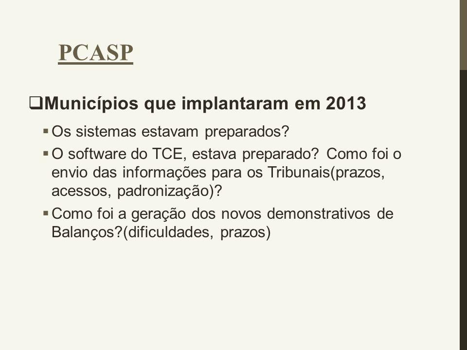 PCASP Municípios que implantaram em 2013