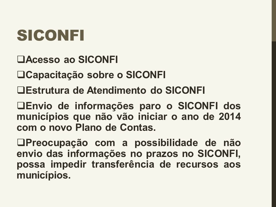 Siconfi Acesso ao SICONFI Capacitação sobre o SICONFI