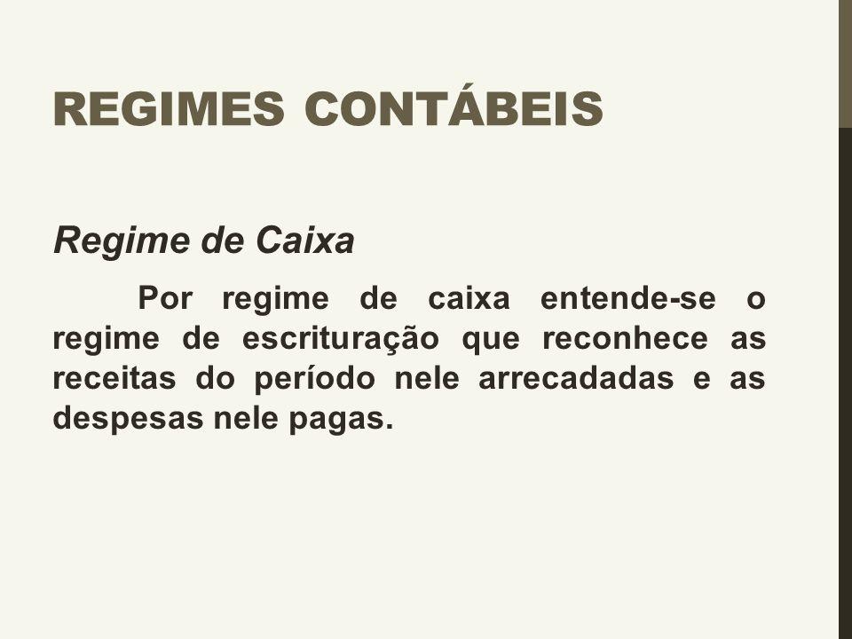 Regimes Contábeis Regime de Caixa