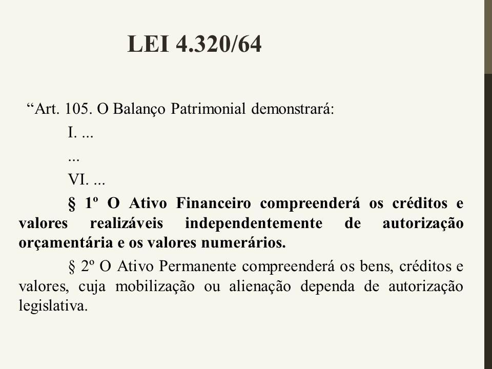 LEI 4.320/64 Art. 105. O Balanço Patrimonial demonstrará: I. ... ...