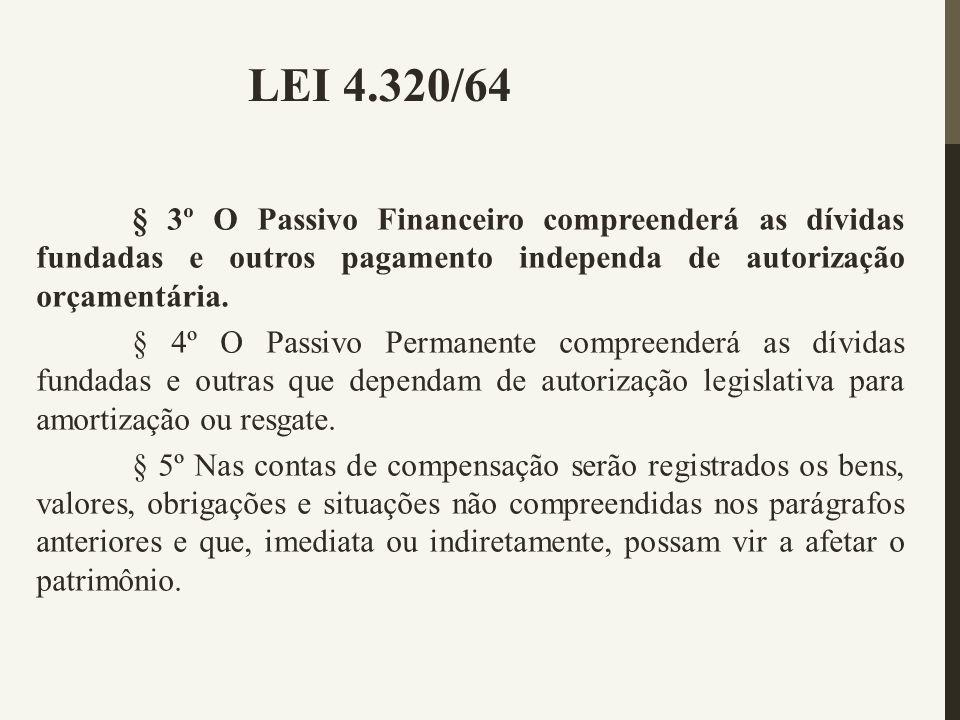 LEI 4.320/64 § 3º O Passivo Financeiro compreenderá as dívidas fundadas e outros pagamento independa de autorização orçamentária.
