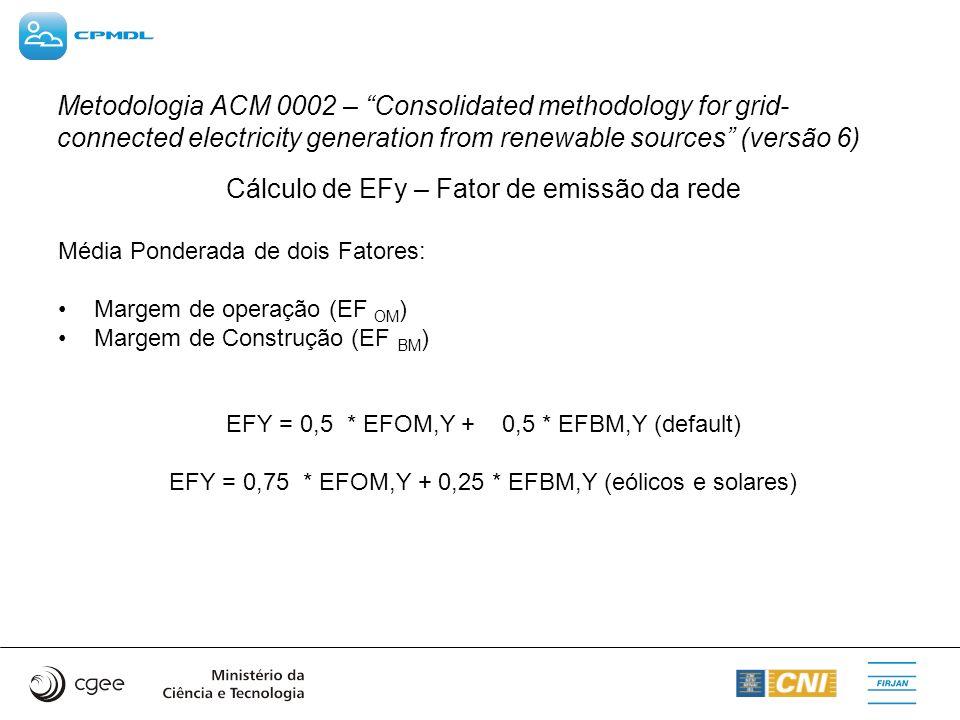 Cálculo de EFy – Fator de emissão da rede