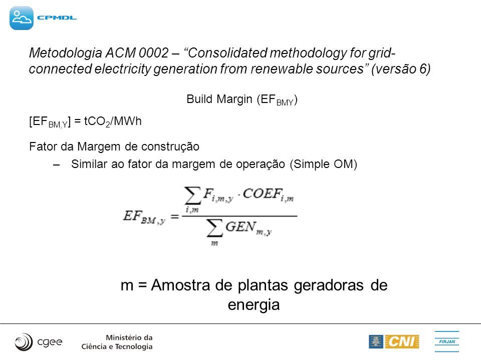 m = Amostra de plantas geradoras de energia