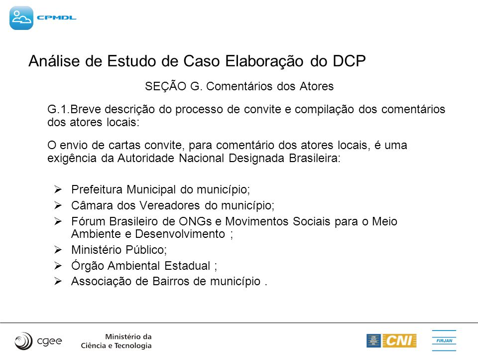 Análise de Estudo de Caso Elaboração do DCP