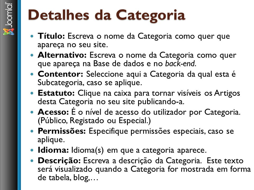 Detalhes da Categoria Título: Escreva o nome da Categoria como quer que apareça no seu site.