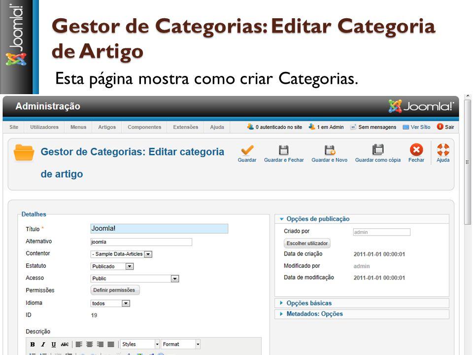 Gestor de Categorias: Editar Categoria de Artigo