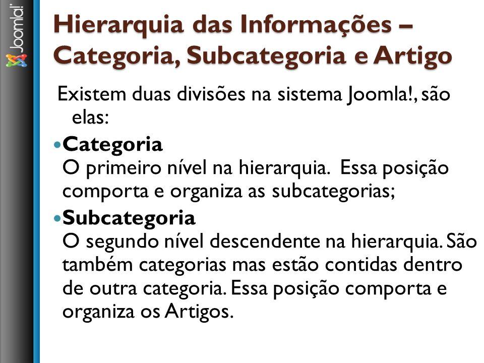 Hierarquia das Informações – Categoria, Subcategoria e Artigo