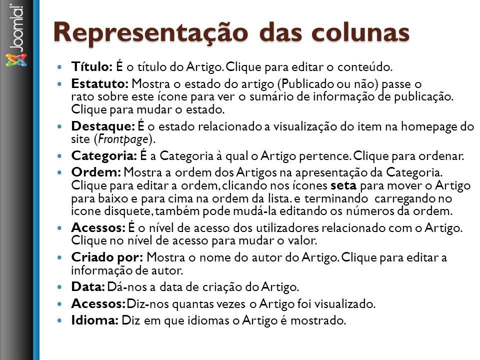 Representação das colunas