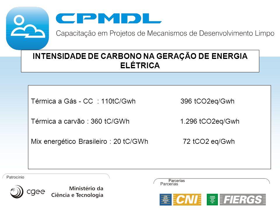INTENSIDADE DE CARBONO NA GERAÇÃO DE ENERGIA ELÉTRICA