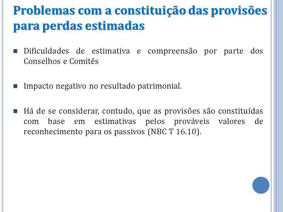 Problemas com a constituição das provisões para perdas estimadas