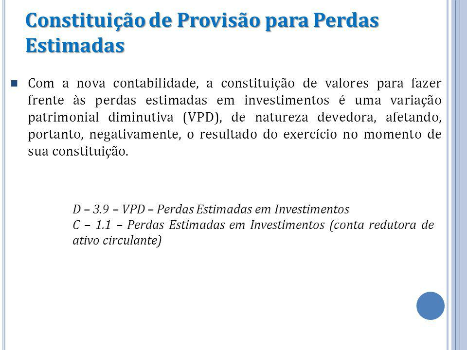 Constituição de Provisão para Perdas Estimadas