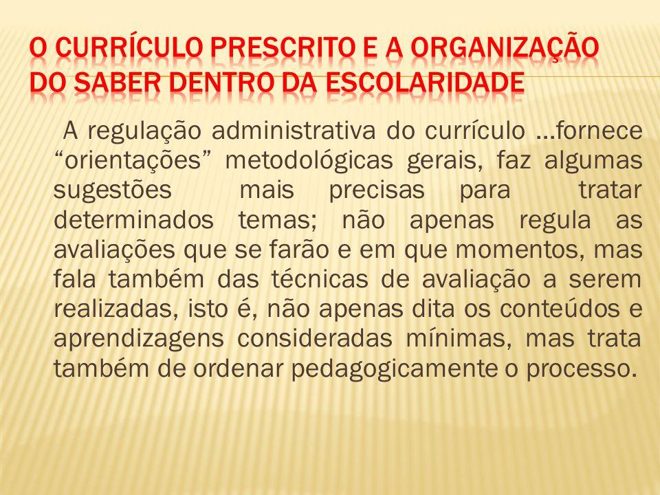 O Currículo Prescrito e a Organização do saber dentro da Escolaridade