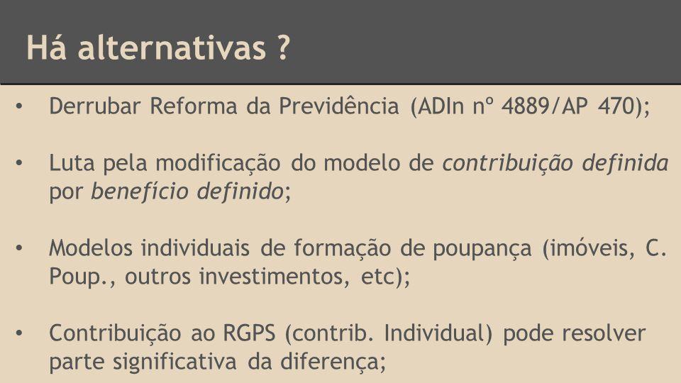 Há alternativas Derrubar Reforma da Previdência (ADIn nº 4889/AP 470);