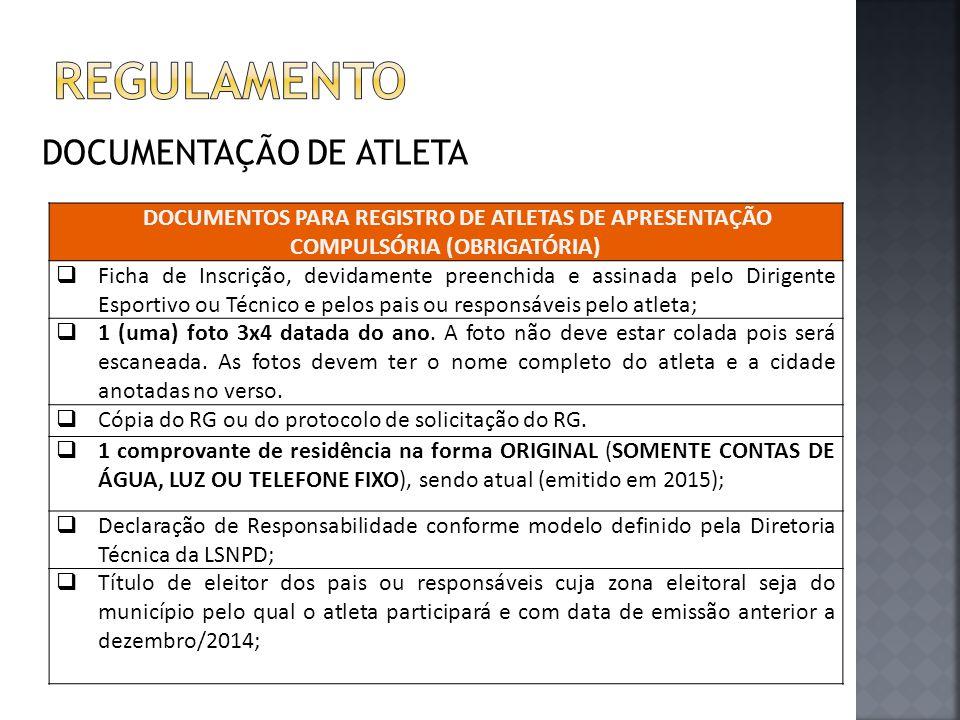 regulamento DOCUMENTAÇÃO DE ATLETA