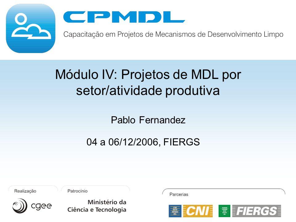 Módulo IV: Projetos de MDL por setor/atividade produtiva Pablo Fernandez