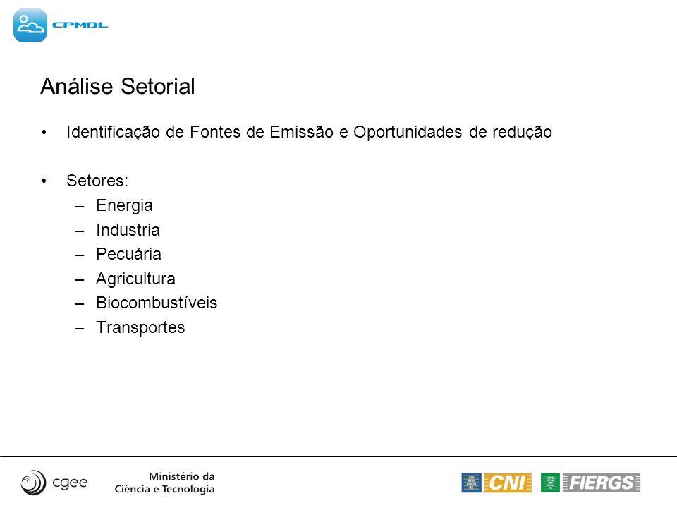 Análise Setorial Identificação de Fontes de Emissão e Oportunidades de redução. Setores: Energia.