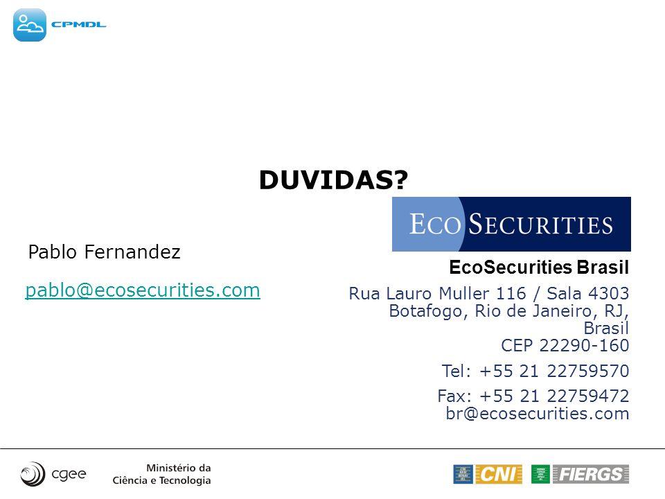 DUVIDAS Pablo Fernandez EcoSecurities Brasil pablo@ecosecurities.com