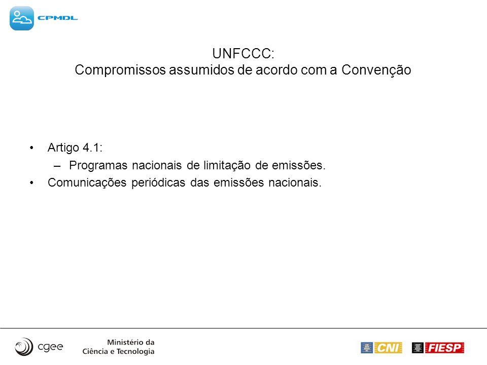 UNFCCC: Compromissos assumidos de acordo com a Convenção