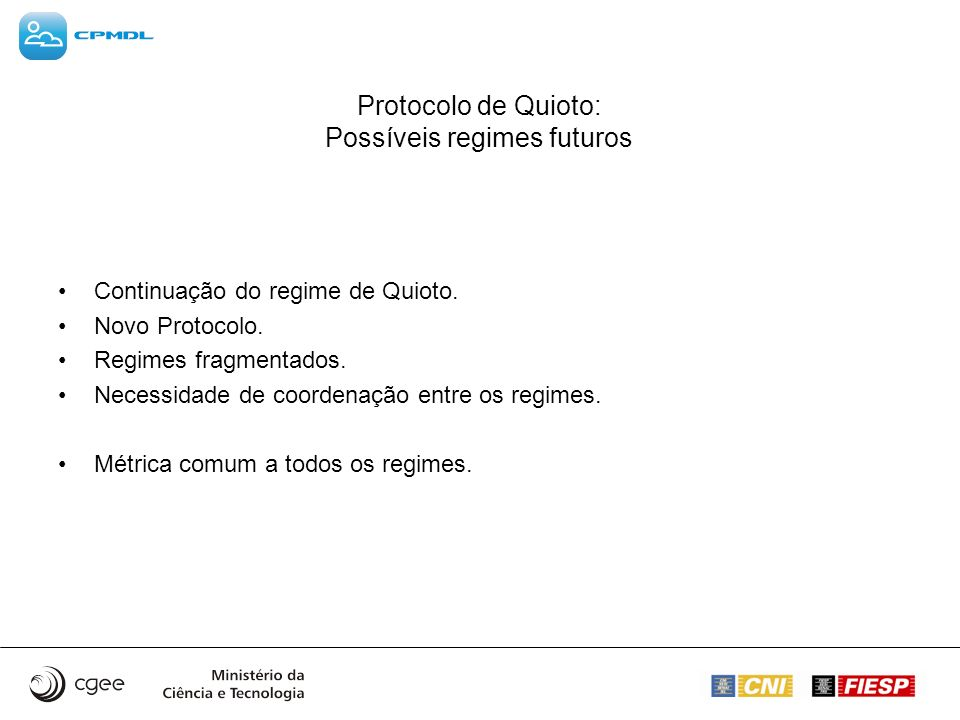 Protocolo de Quioto: Possíveis regimes futuros