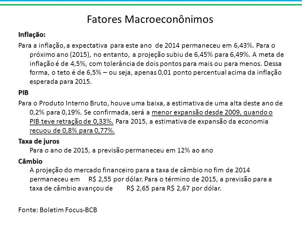 Fatores Macroeconônimos