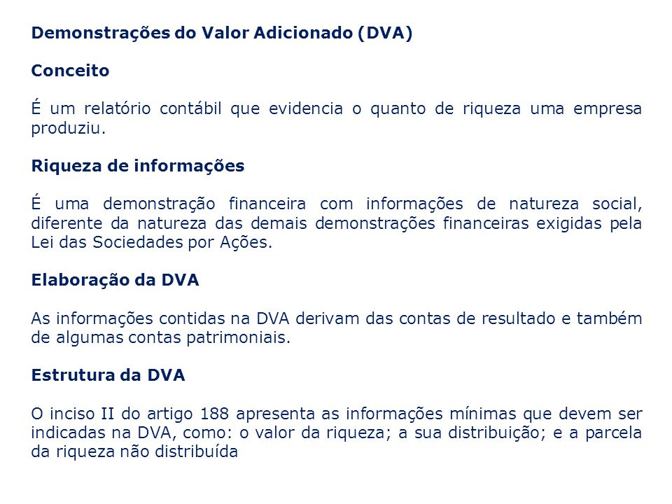 Demonstrações do Valor Adicionado (DVA) Conceito