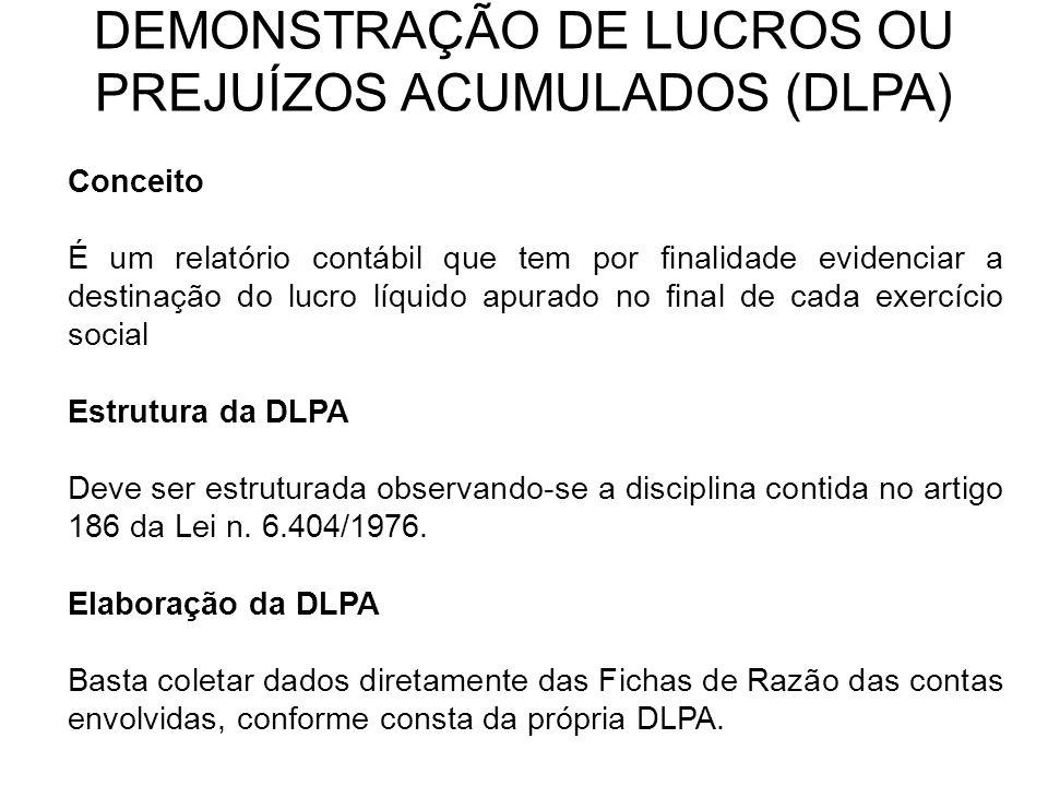 DEMONSTRAÇÃO DE LUCROS OU PREJUÍZOS ACUMULADOS (DLPA)
