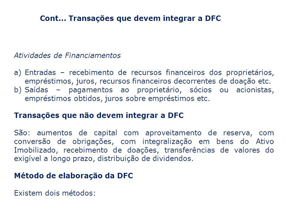 Cont... Transações que devem integrar a DFC