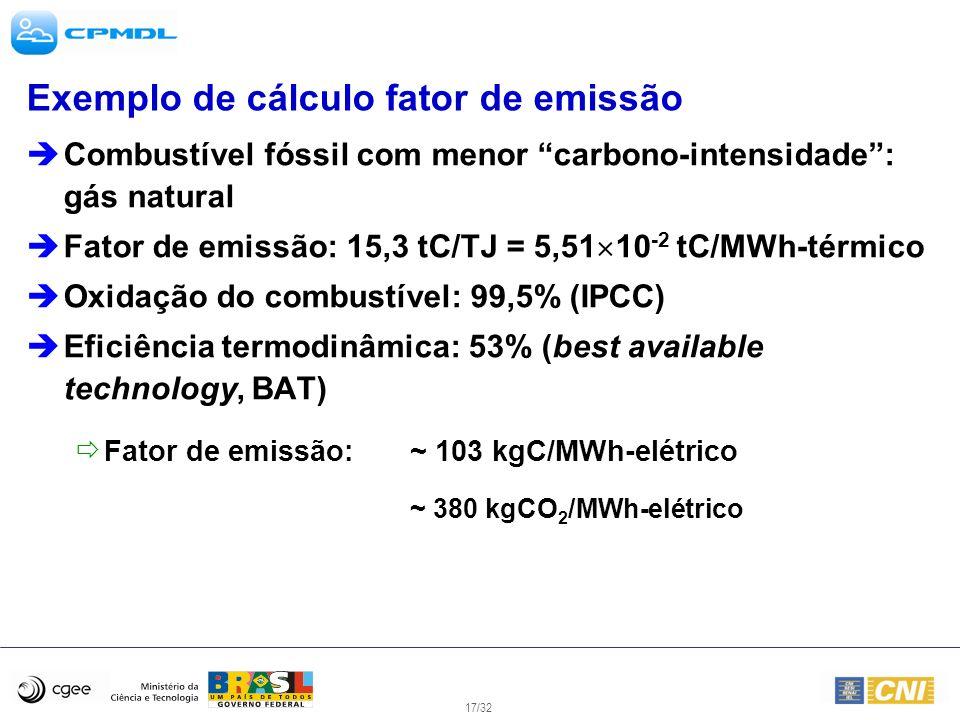 Exemplo de cálculo fator de emissão