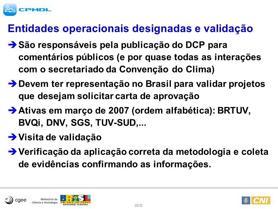 Entidades operacionais designadas e validação