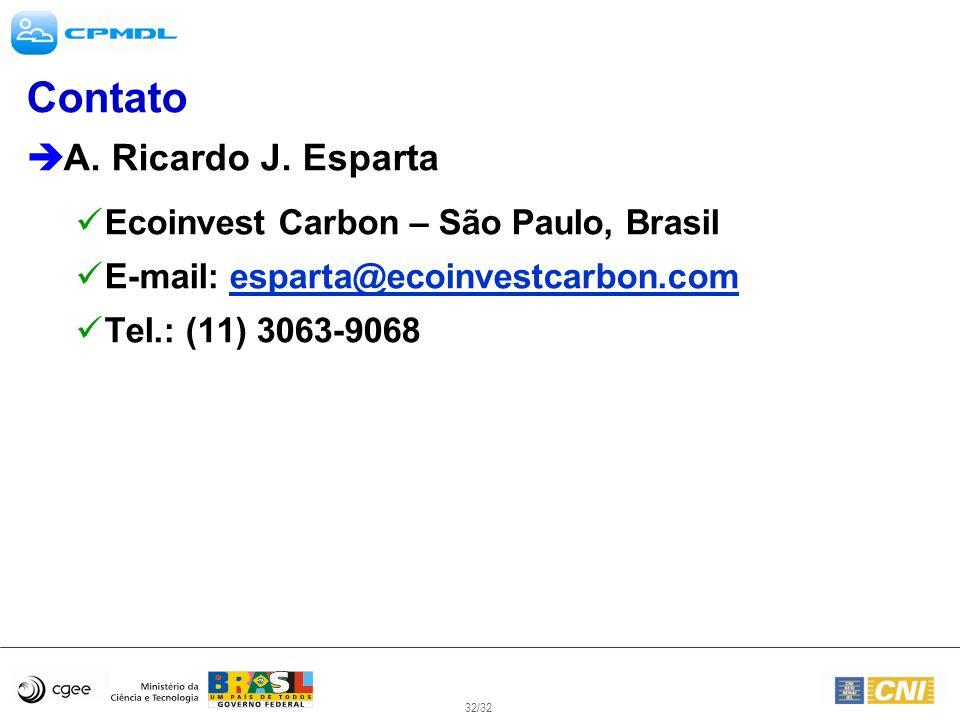 Contato A. Ricardo J. Esparta Ecoinvest Carbon – São Paulo, Brasil