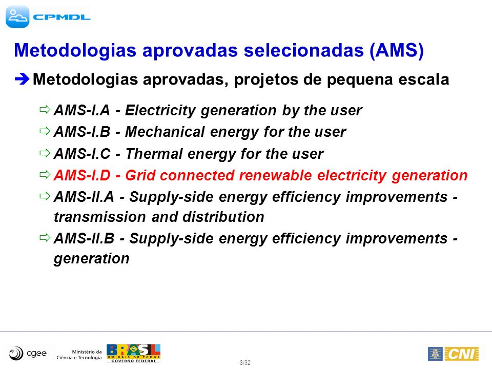 Metodologias aprovadas selecionadas (AMS)